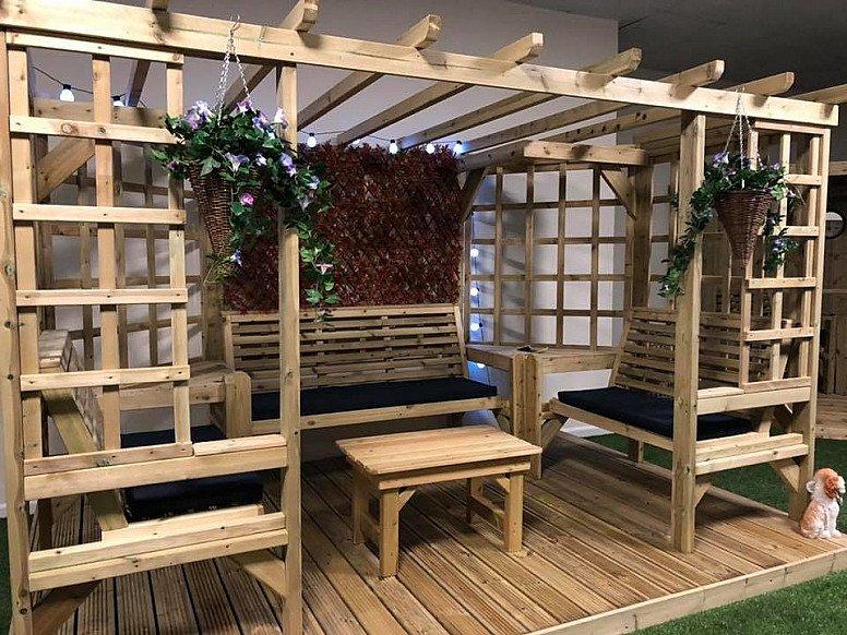 Riviera Large Garden Pergola 7 Seater