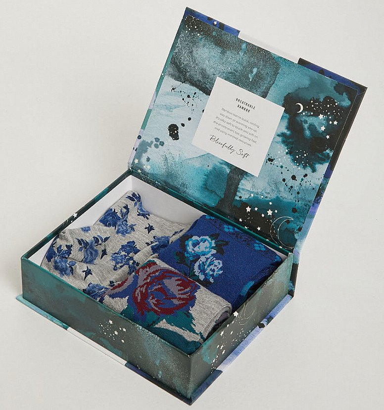 Send organic and sustainable gifts -  WOMEN'S FLORAL BAMBOO UNDERWEAR & SOCKS GIFT SET, £21.95!