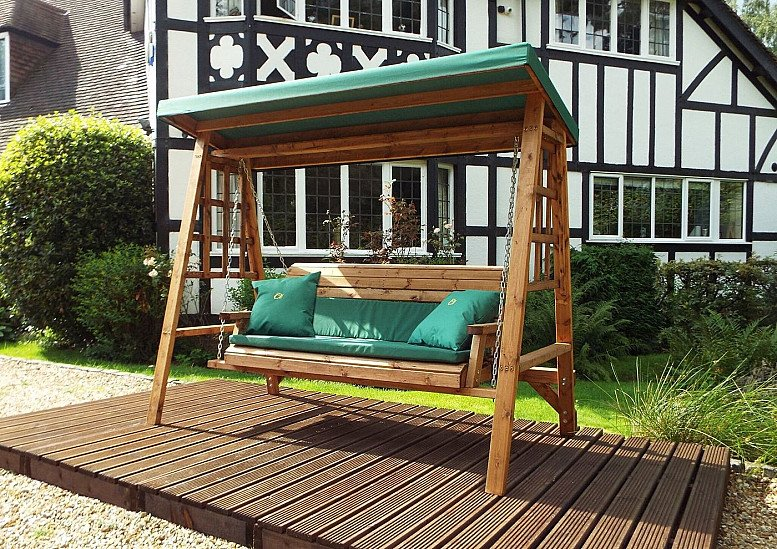 Dorset Garden Swing Green Cushions & Roof Cover – 3 Seater