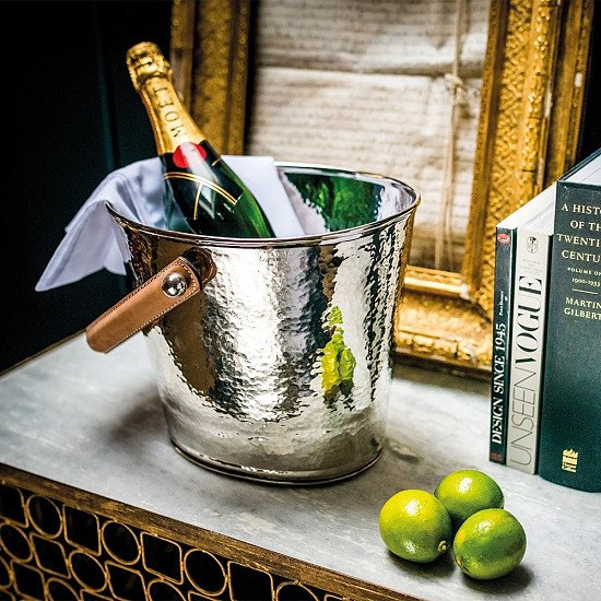 £99.95 - Culinary Concepts Luxury Wine Cooler with Leather Handle & Champagne Hammered Finish