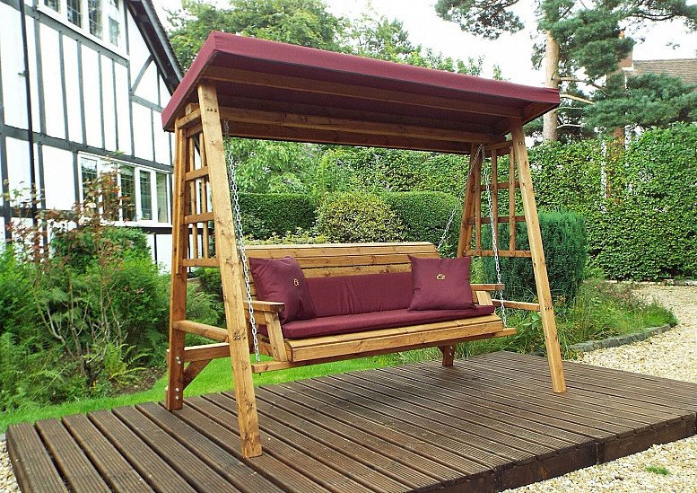 Dorset Garden Swing Burgundy Cushions & Roof Cover – 3 Seater
