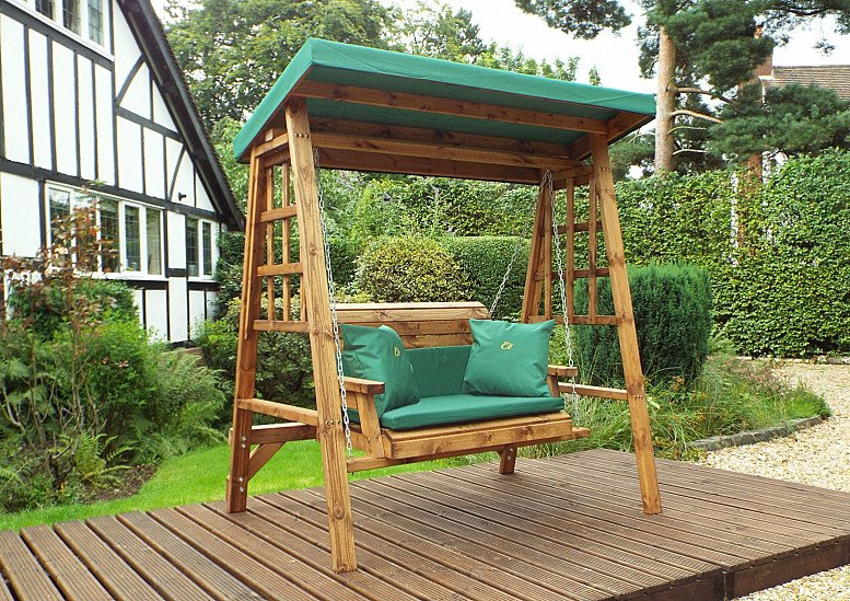 Dorset Garden Swing Green Cushions & Roof Cover – 2 Seater