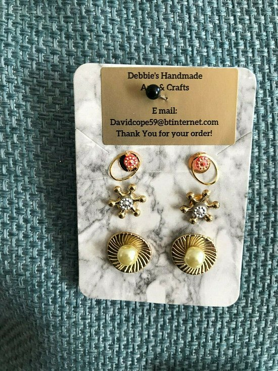 3 pairs of stud earrings for just £2.95