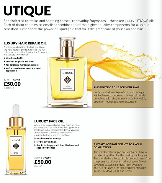 Utique hair repair and facial oil