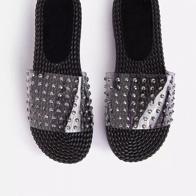 SALE - Disco Studded Detail Clear Perspex Flat Slider Sandal In Black