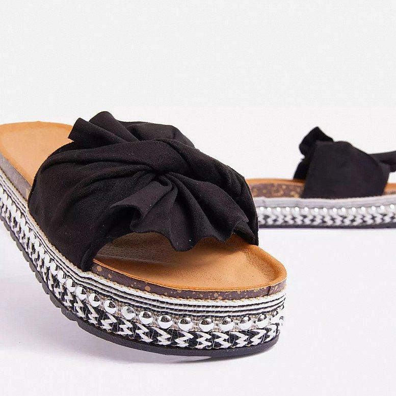 SALE - Daiquiri Espadrille Flat Slider Sandal In Black Faux Suede!