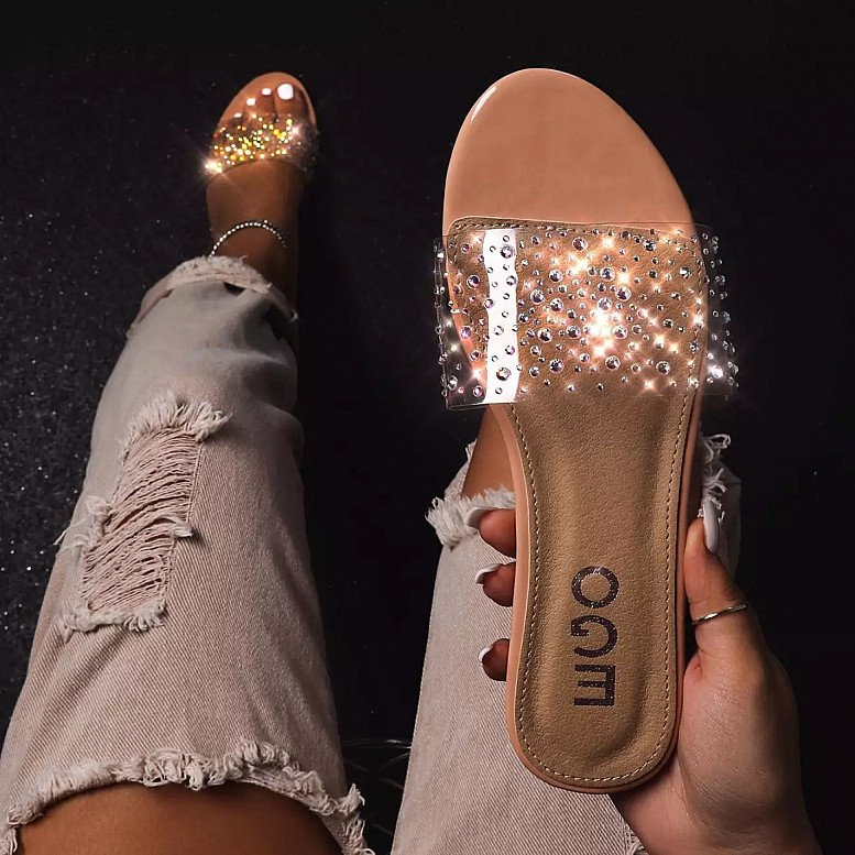 SALE - Stunning Diamante Detail Clear Perspex Flat Sandal In Nude Patent!
