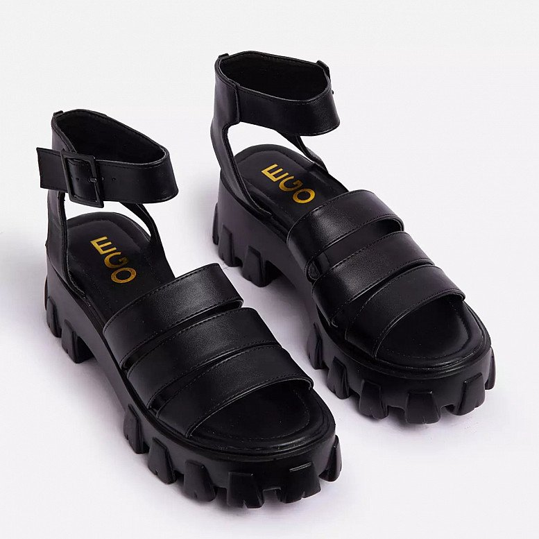 SALE - Swift Chunky Sole Flat Gladiator Sandal In Black Faux Leather!