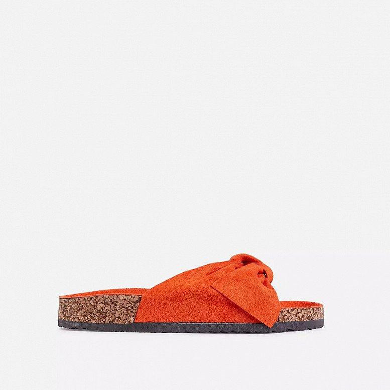 SALE - Heavenly Bow Detail Flat Slider Sandal In Orange Faux Suede