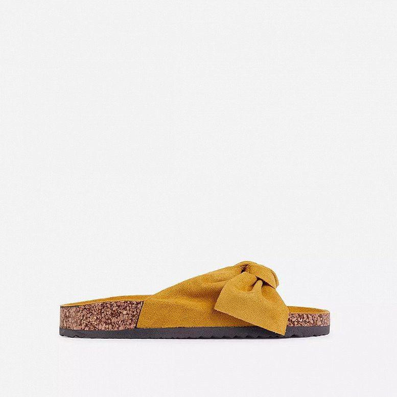SALE - Heavenly Bow Detail Flat Slider Sandal In Yellow Faux Suede!