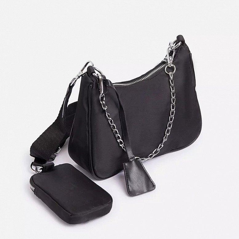 SALE - Purse Detail Cross Body Bag In Black Nylon