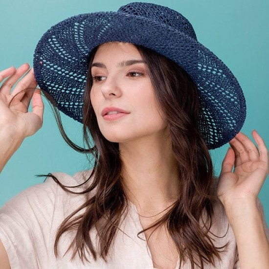 Woven cowboy stylsun hat with swirl detail