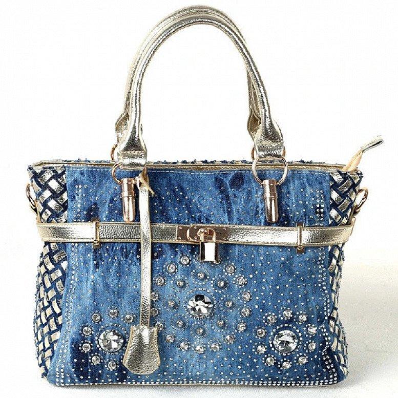 Luxury Rhinestone Denim Shoulder Bag Ladies