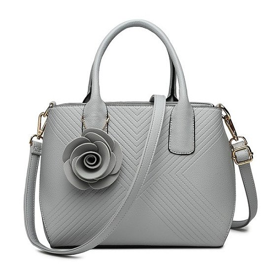PU LEATHER ROSE ORNAMENT TWILL HANDBAG GREY