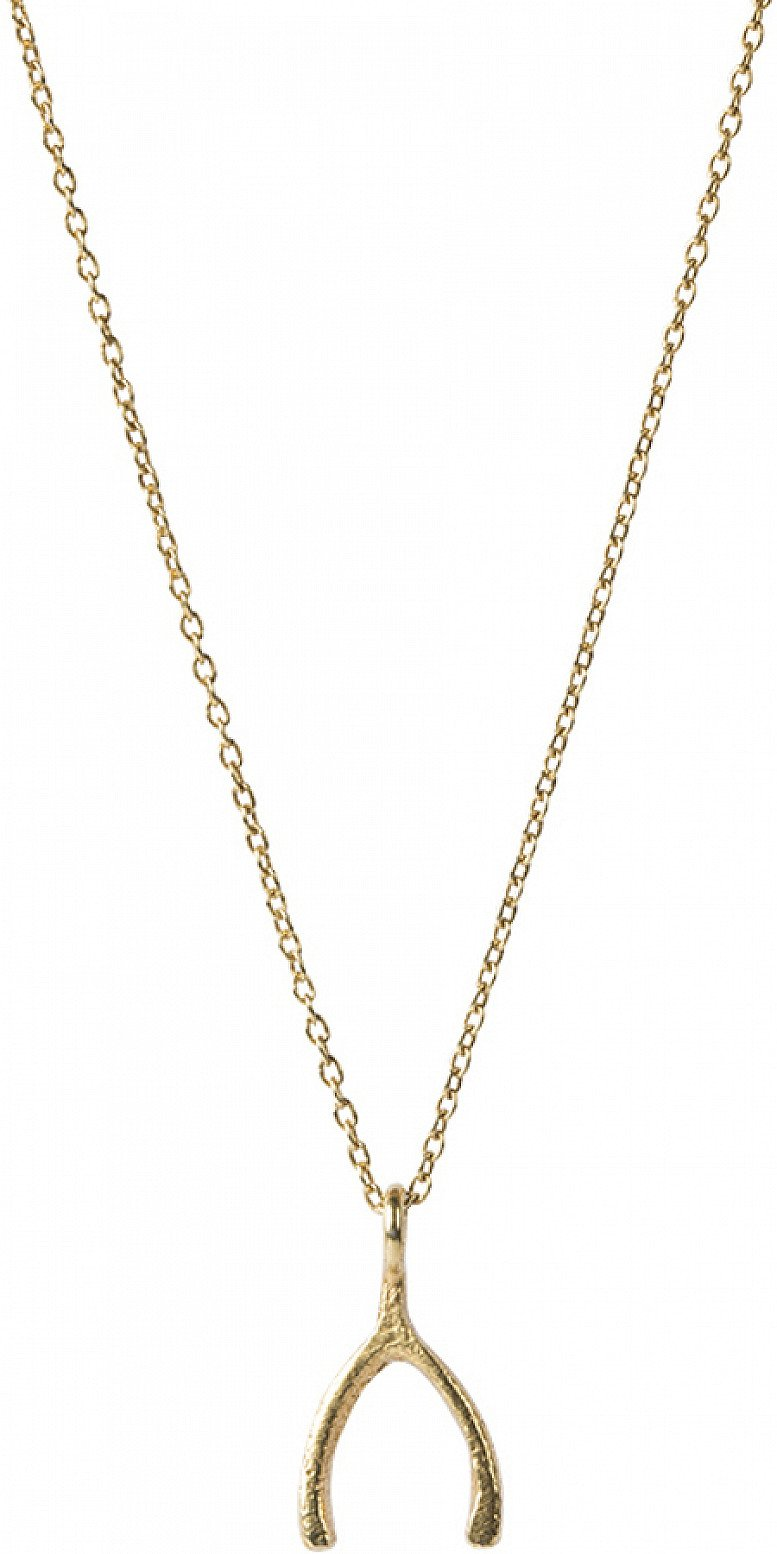 OFFER - A BEAUTIFUL STORY DELICATE WISHBONE SILVER GOLD-PLATED NECKLACE