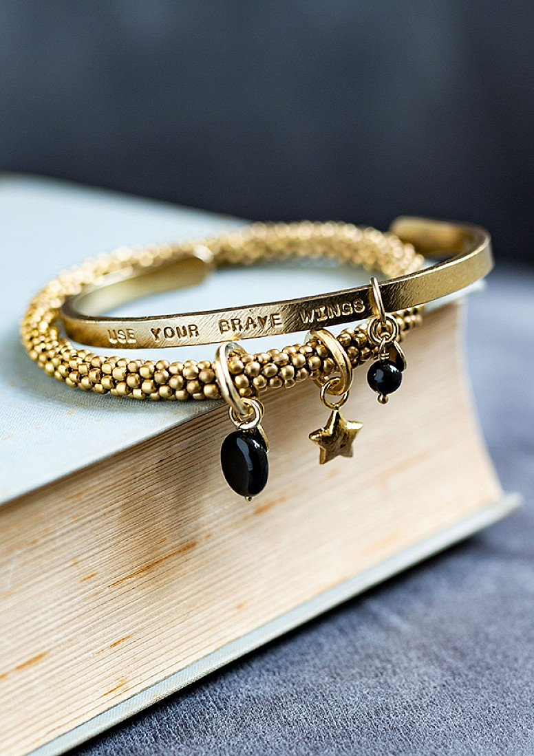 OFFER - A BEAUTIFUL STORY PURE BLACK ONYX GOLD BRACELET!