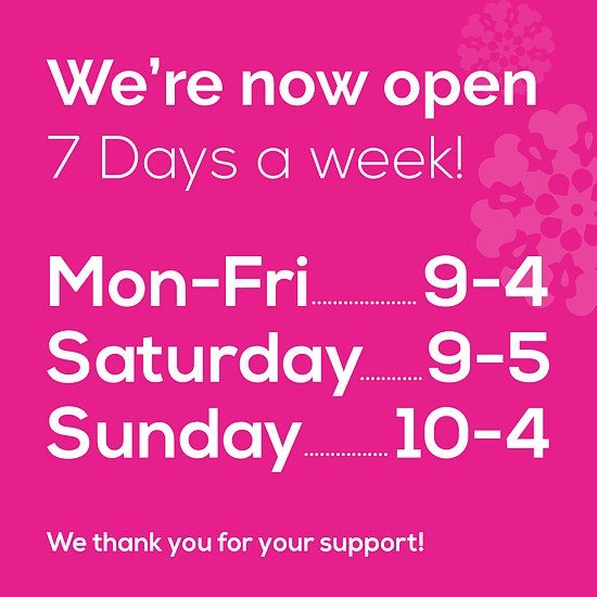 Check out our opening times...