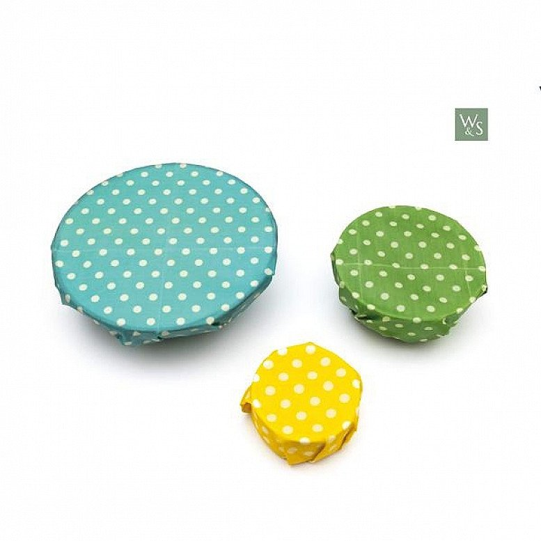 In celebration of Plastic Free July - BEESWAX FOOD WRAPS - ORGANIC & REUSABLE - POLKA DOT PATTERN