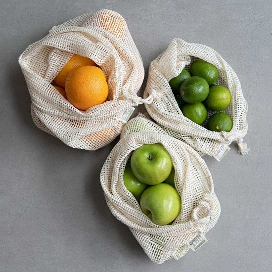 In celebration of Plastic Free July - COTTON MESH PRODUCE BAGS (SET OF 3)!