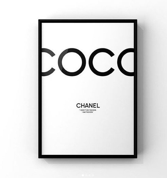 Get the White Coco Chanel Print with a Black Frame for just £7.00!
