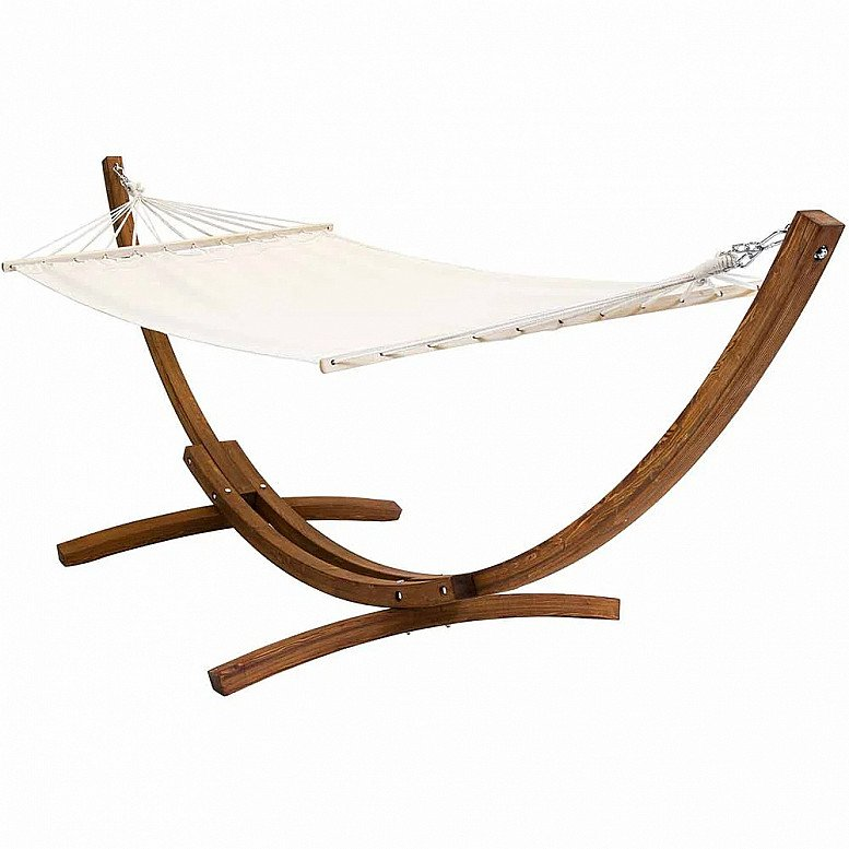 Charles Bentley Wooden Hammock Arc Stand Cream Canvas - £140.00!