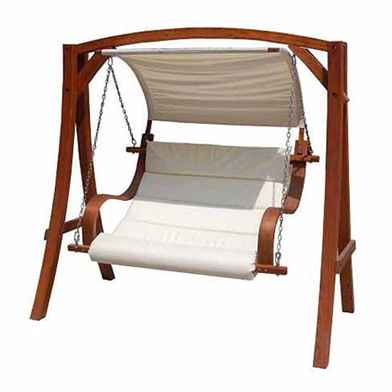 ONLINE EXCLUSIVE - Charles Bentley 2 Seater Wooden Garden Swing Chair With Canopy: £340.00!