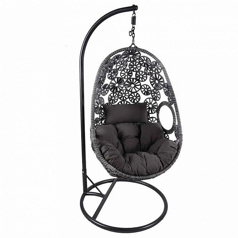 Charles Bentley Rattan Floral Swing Chair Grey - £290.00!