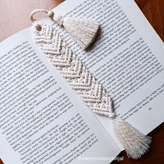 Macrame Bookmark, Bookmarks, Handmade, Ideal gift, Cotton Thread, Tassel - £8.99