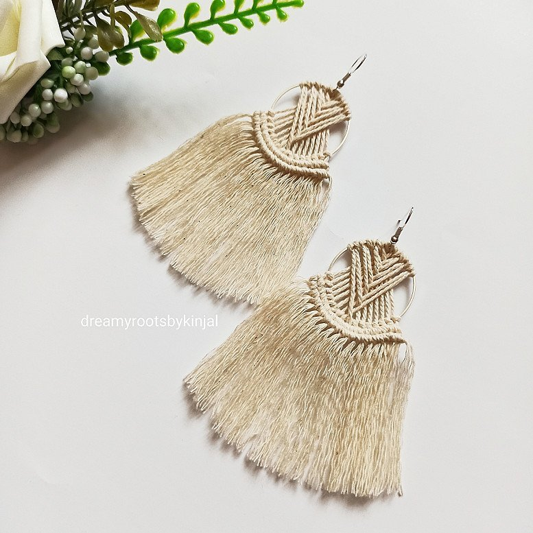 Macrame Earrings, Handmade, Gift,  Fashion Accessories, Beige, Fringe, Boho, Jewellery - £9.99