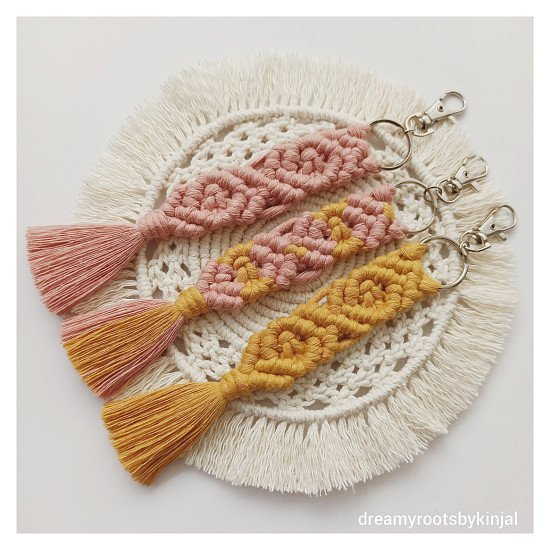 Macrame Keychain, Ideal Gift for any Occasion, Bag Charm, Keyring, Handmade - £7.49 each
