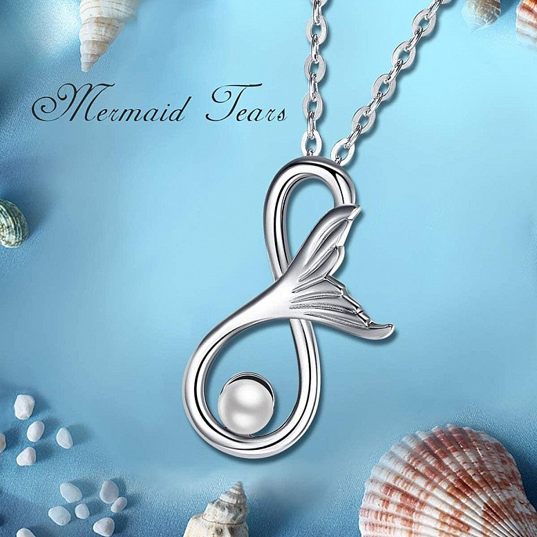 Necklace Shell Pearl Sterling Silver Pendant Mermaid Tail Love Always And Forever With Chain Jewelle