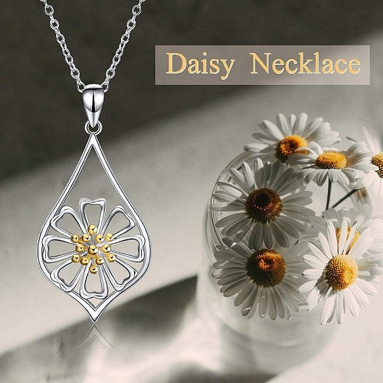 Daisy and Lotus Necklace S925 Sterling Silver Flower Pendant
