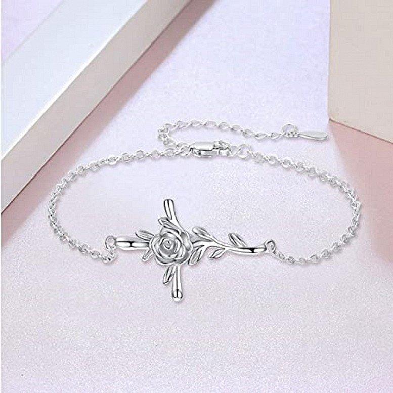 Bracelet for Women 925 Sterling Silver Cross Bracelet Rose Flower Faith Hope Love