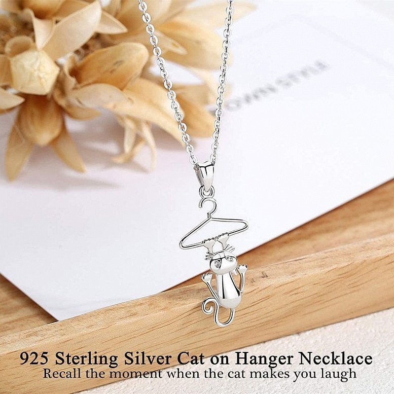 Cat Necklaces 925 Sterling Silver Kitten Kitty Pendant Necklace