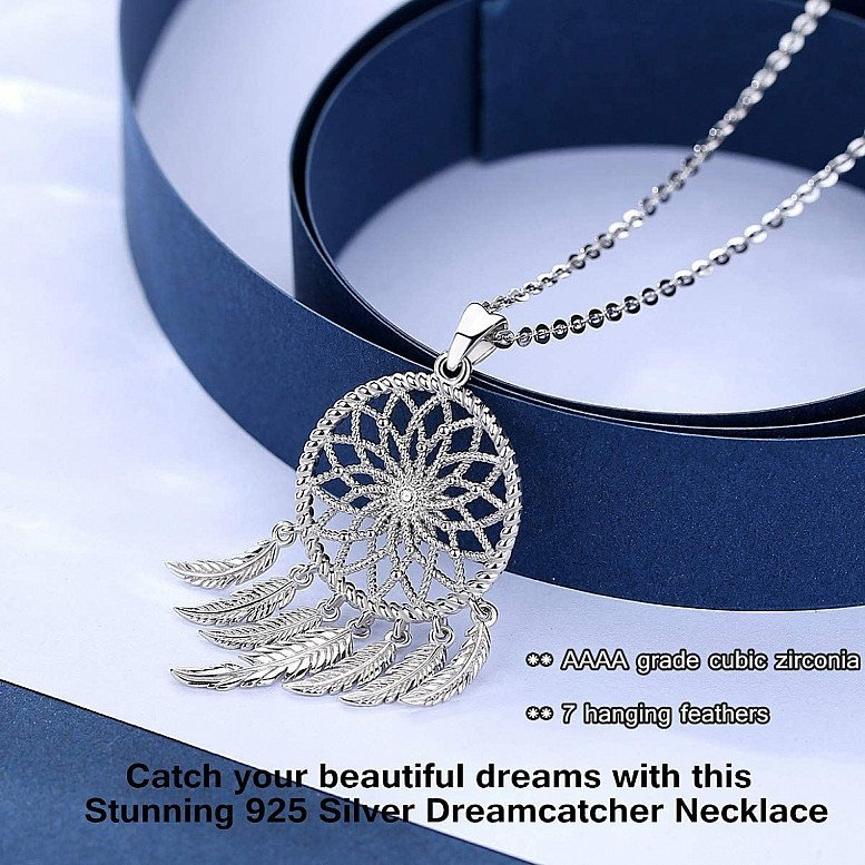 925 Sterling Silver Dreamcatcher Necklace Stamped Silver Feathers Pendant