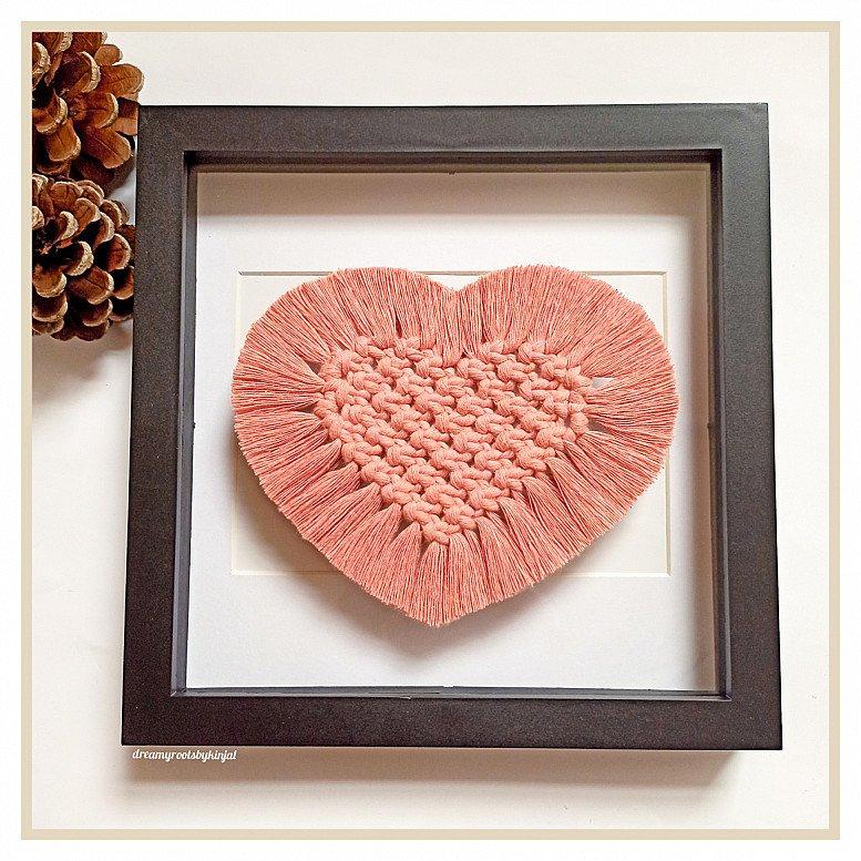 Macrame Heart Coasters, Handmade, Coasters, Boho, Home Decor, Blush Pink, Candle Holder,