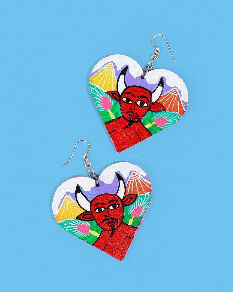 NEW IN - Familia Lorenzo Hand-Painted Earrings, Devil: £34.00!
