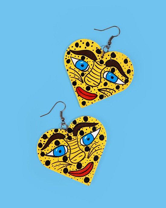 NEW IN - Familia Lorenzo Hand-Painted Earrings, Jaguar Face £34.00!
