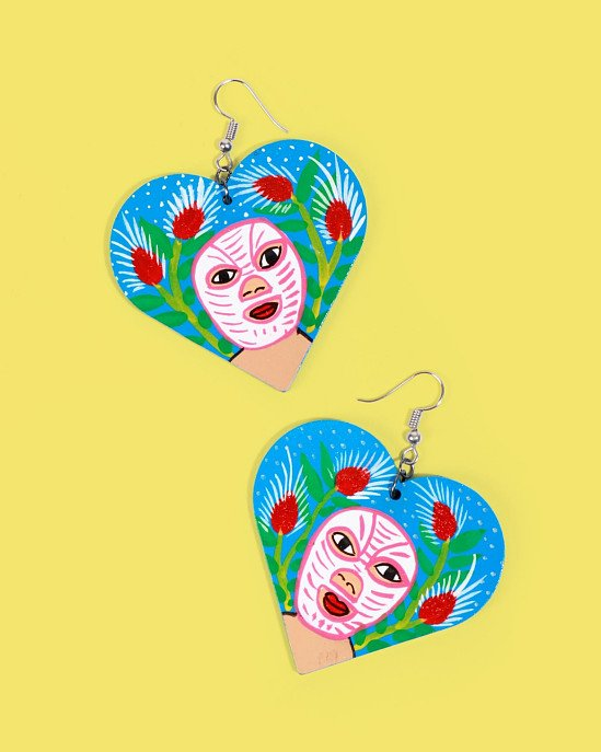 NEW IN - Familia Lorenzo Hand-Painted Earrings, Luchador £34.00!
