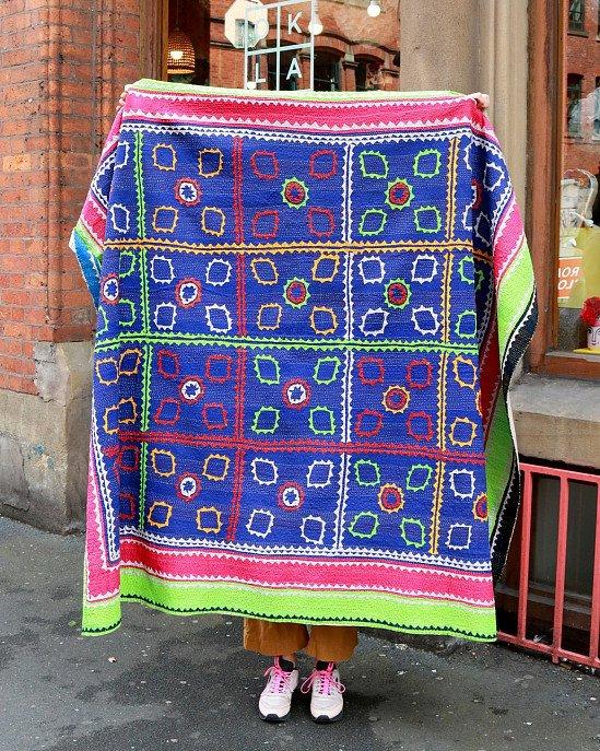 ONE LEFT - Hand-Stitched Ralli Quilt, Indigo & Green £250.00!