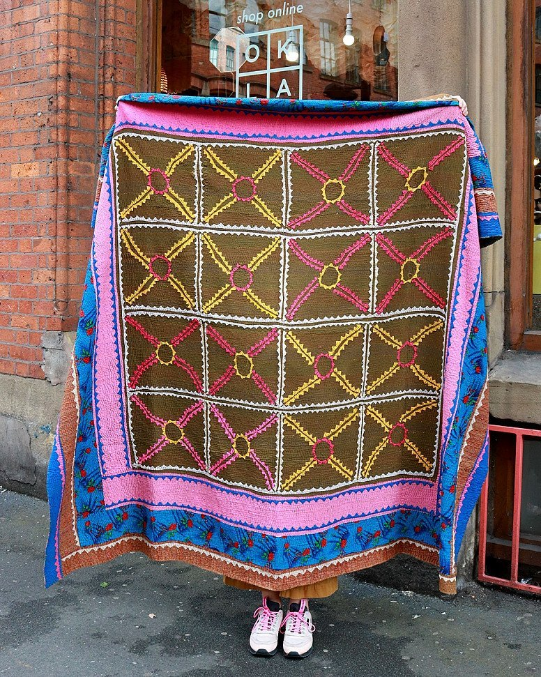 ONE LEFT - Hand-Stitched Ralli Quilt, Blue & Pink £250.00!