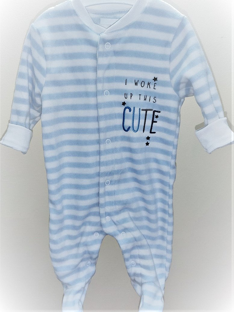 Baby Boy Velvet Sleepsuit