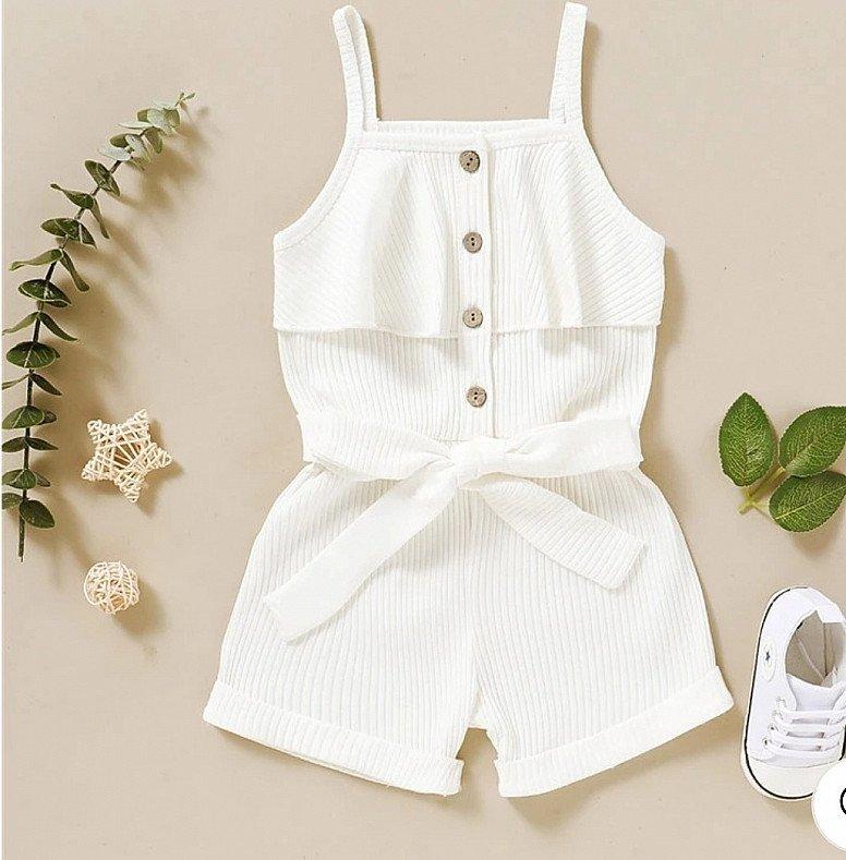 Baby Girl White sleeveless romper jumpsuit 0-3 Months