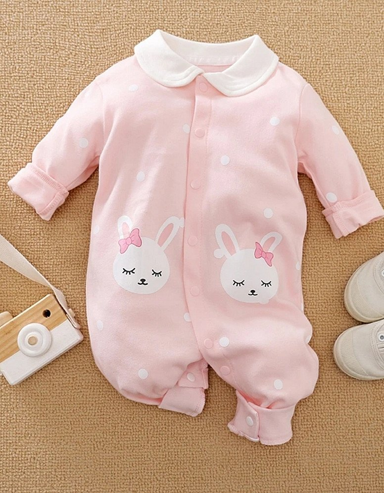 Pink Baby Girls Rompersuit with soft doll collars
