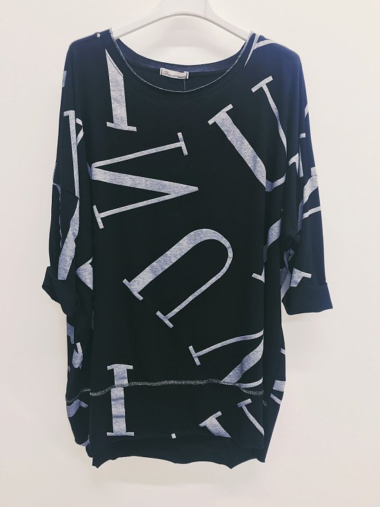 ITALIAN Alphabet Print Long Lagenlook TOP