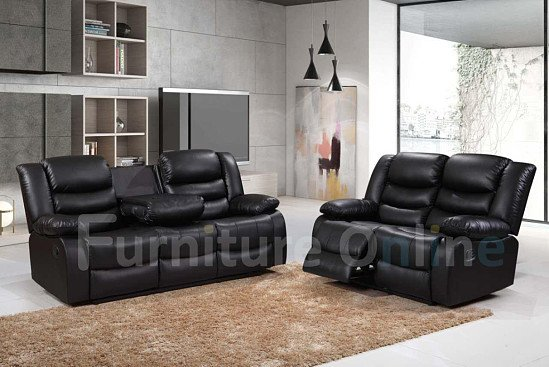 ROMA RECLINER LEATHER 3+2 SET BLACK