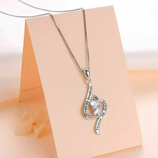 925 Sterling Silver Heart Necklace for Women Engraved with Cubic Zirconia