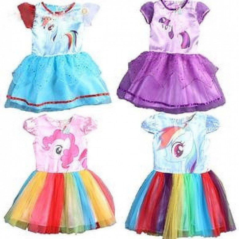 SAMGAMI BABY New Summer Cute Dress Little Girls Dress my Pony Spring Girl Short Sleeve Dresses My gi