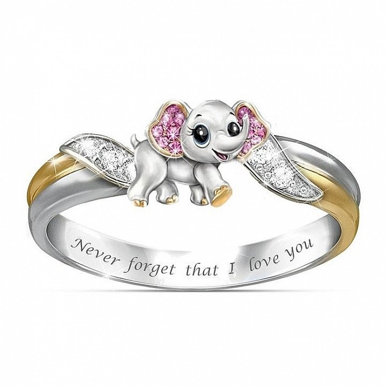 """Never Forget I Love You"""" Silver Cute Pink Elephant Crystal Zircon Engagement Ring Accessories Lover'"""