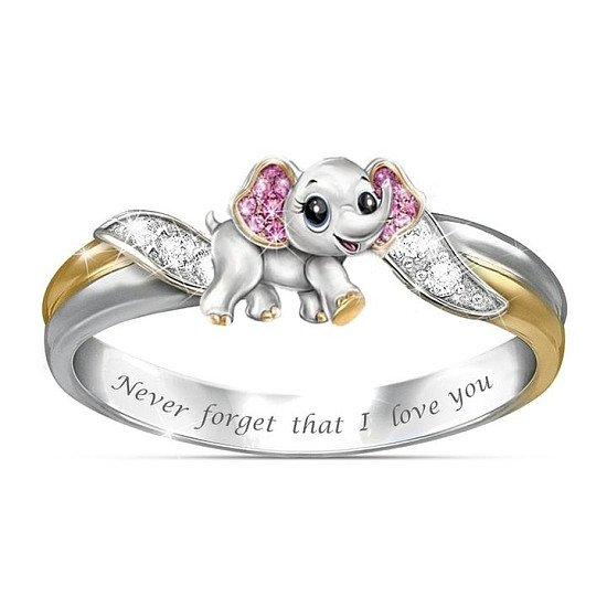 "Never Forget I Love You"" Silver Cute Pink Elephant Crystal Zircon Engagement Ring Accessories Lover'"